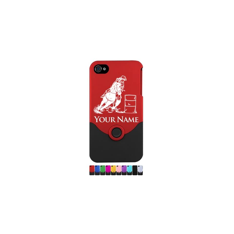 Engraved iPhone 4/4S Case/Cover   BARREL RACING COWGIRL, BARREL RACER   Personalized for FREE (Click the CONTACT SELLER button after purchase and send a message with your case color and engraving request) Cell Phones & Accessories