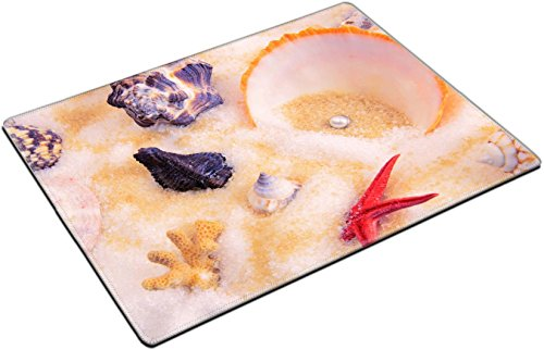 (MSD Place Mat Non-Slip Natural Rubber Desk Pads design 20502162 a collection of scallops and pearl)