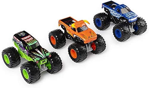 Monster Jam , charger crushers 3 Pack (Grave Digger, El Toro Loco and Blue Thunder), 1:64 Scale Die-Cast Vehicles, Multicolor