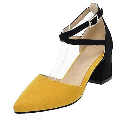 VogueZone009 Women Frosted Closed-Toe Kitten-Heels Assorted Color Sandals Yellow