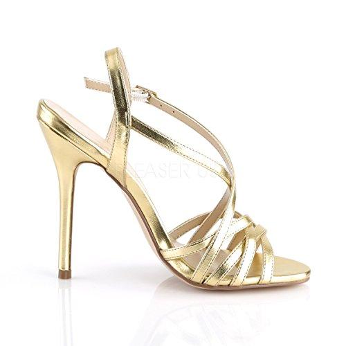 PleaserUSA Damen High Heel Riemchen Sandalen Amuse-13 Gold metallic Gold