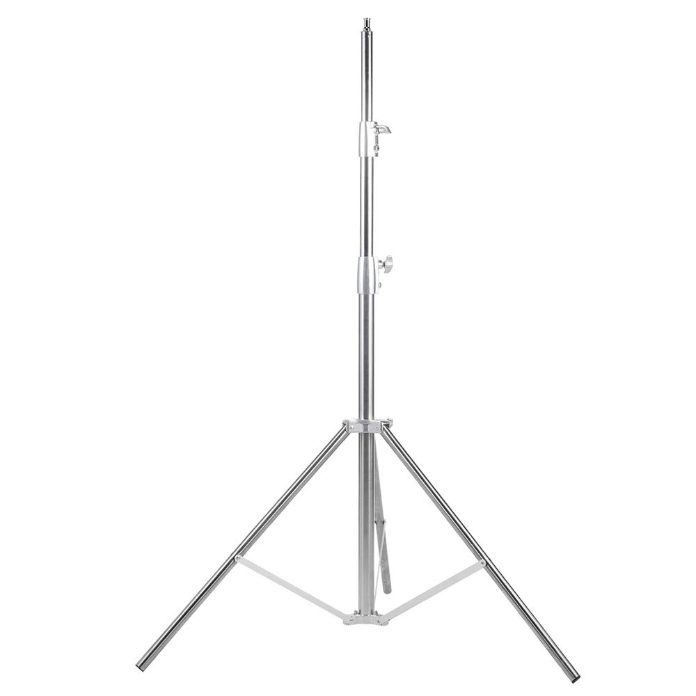 Fomito Nicefoto 102'' / 260cm Light Stand LS-280S Stainless Steel 3 Section Heavy Duty Built-in Spring for Studio Softbox, Monolight and Other Photographic Equipment (Silver)