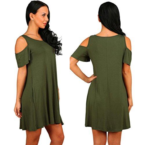 DOLDOA Mujeres de verano de algodón suelto sólido fuera del hombro Casual Sundress Mini vestido ejercito verde