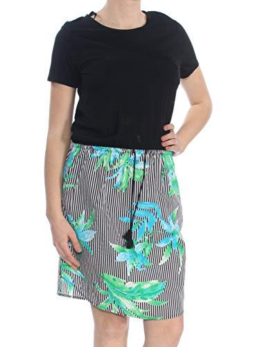 LAUREN RALPH LAUREN Womens Mixed Media Daytime T-Shirt Dress Black - Women Lauren Skirts Ralph