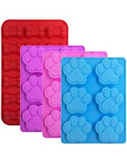 4 Pcs Silicone Puppy Dog Paw & Bone Shaped Molds, FineGood TraysCandy Chocolate Molds Cookies Baking Pans for Making Frozen Dog Treats Soap Bars - Red, Blue, Purple, Pink