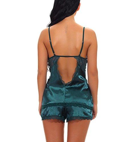 Donne Pigiama Babydoll Intima Verde Completo Pizzo Pezzi Sexy Camicie Biancheria in PassMe Due Notte Corti Top da Pantaloncini dyq7YTywz