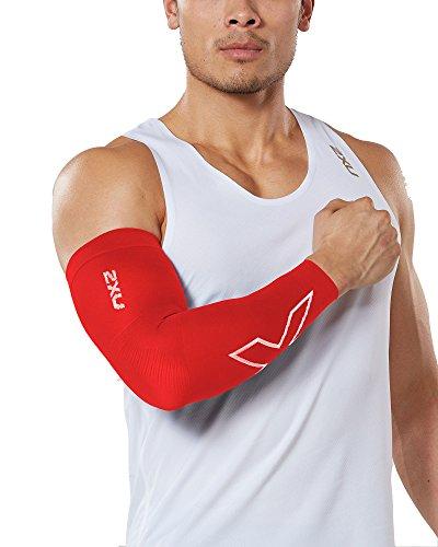 2XU Compression Flex arm Sleeve (Single), Red/White, X-Small (2xu Arm Compression Sleeve)