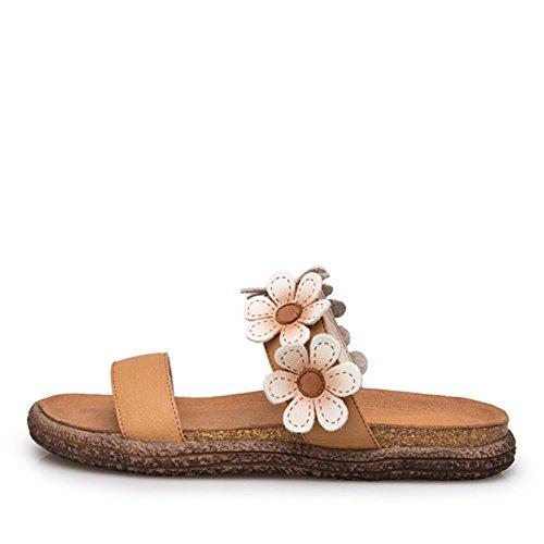 Moda Verano Usar Zapatillas De Cuero Genuino/Estudiantes De Fondo Plano Flores Frescas Zapatillas A