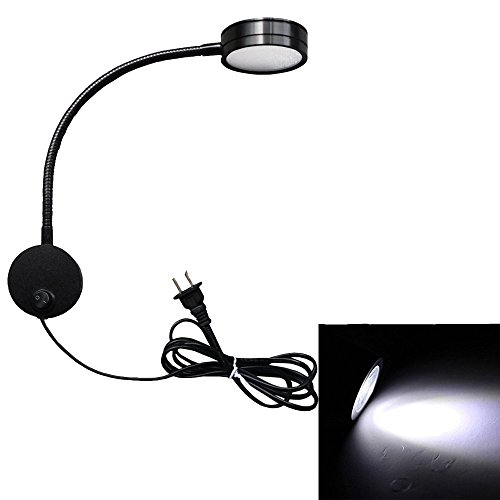lexible Gooseneck Wall Sconce Reading Lamp Art Works Show Accent Light Wall Mount Spot Lamp Fixture with On/off Switch (Round Black-Cool White) ()
