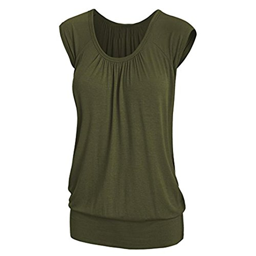 Blouse for Womens, FORUU Summer Casual Round Neck Solid Short Sleeve T-Shirt Top at Amazon Womens Clothing store: