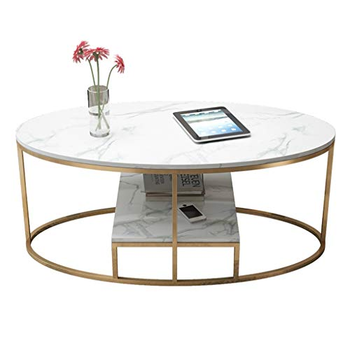 Oval Coffee Table, Double-Sided Countertop, Wrought Iron Base, Stable and Non-Shaking, Designed for Modern Home Living Room, White, (Size: 80×40×45cm) (Glass Top Coffee Tables With Wrought Iron Base)