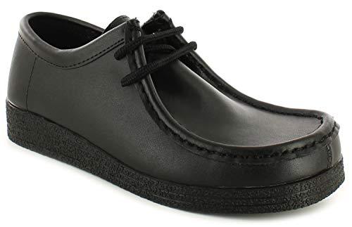 10 Cuero Con Tallas 3 Basha Piel Mocasín Para Shoesideal Cordones Negra Escuela Mujer De Gb Negro qIgwZPx6Pa