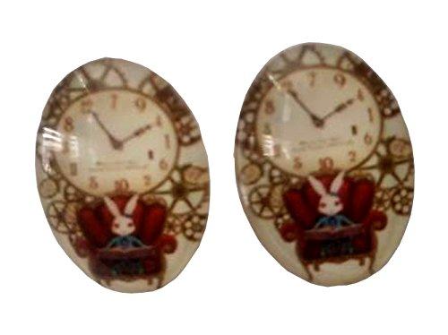 Alice in Wonderland White Rabbit Glass Domed Stud Earrings (Alice Teen Costume)
