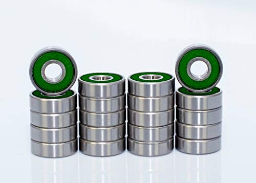 - 20 Pack 608-2RS Ball Bearing - Double Rubber Sealed Miniature Deep Groove Ball Bearings for Skateboards, Inline Skates, Scooters (8mm x 22mm x 7mm),Green