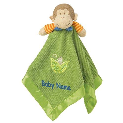 Personalized Mango Monkey Blanket & Toy - 17 Inch - Blue Embroidery, CUSTOM NAME