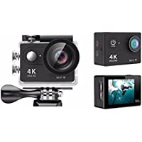 Midou M74R Action Camera 4K Wifi 12MP Sports DV Waterproof 170°Ultra Wide-Angle Lens Sport Camera,2 Inch LCD Screen with 2 Pcs 1050mAh Batteries and Portable Package(Black)