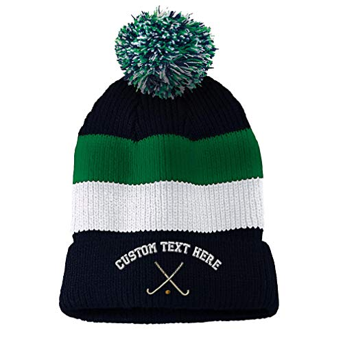 (Custom Text Embroidered Field Hockey Sport #1 Unisex Adult Acrylic Vintage Striped Removable Pom Pom Beanie Skully Hat - Navy/Green/White Stripes)