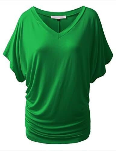 URBANCLEO Womens Short Sleeve Dolman Drape Top Shirts (PLUS Size Available)