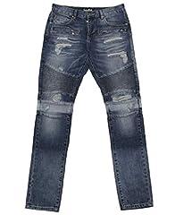 Men's Embellish Purus Biker Denim Pants Color: Blue Size: 36 Material: Cotton Made in China
