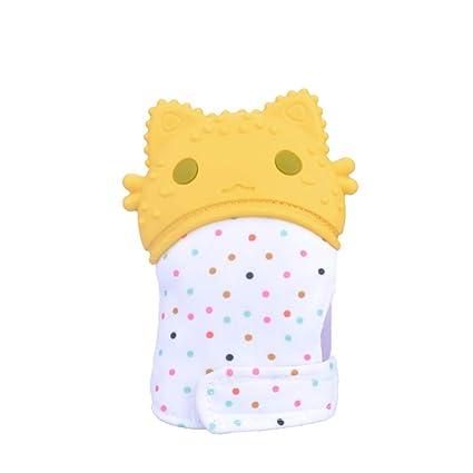Baby dentición manopla silicona mordedor guante BPA libre de dientes de juguete bebé ducha regalo (amarillo)