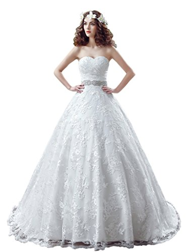 Lace Ivory Sweetheart for Gown Dress Bride Ball Elegant Dressylady Wedding Appliques ROqxwHw