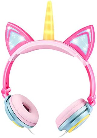 EBOT Unicorn Headphones Over Ear Kids Headphones Foldable Headphones with Glowing LED Cat Ears Safe Wired Kids Headsets 85dB Volume Limited for Toddlers Travel Birthday Gifts