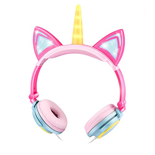 EBOT Unicorn Headphones Over Ear Kids Headphones Foldable Headphones with Glowing LED Cat Ears Safe Wir ed Kids Headsets 85dB Volume Limited for Toddlers Travel Birthday Gifts