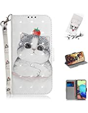 Strap Case for Girly Women Wallet Stand Lovely Stylish Kickstand Credit Cards Slot Cash PU Leather Flip Wallet Case for Samsung Galaxy A71,Tomato Cat