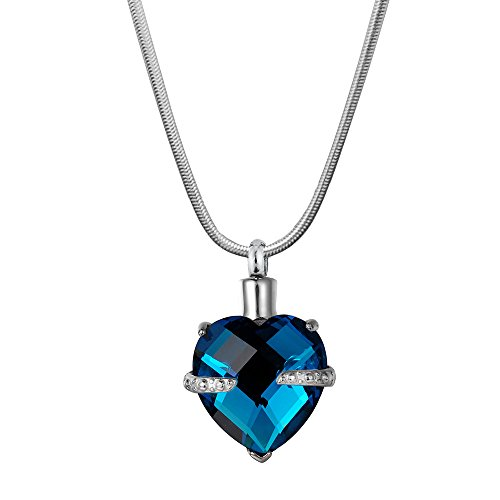 (Anavia Crystal Birthstone Heart Stainless Steel Cremation Memorial Urn Ashes Holder Pendant Necklace Jewelry (Dec - Turquoise) )