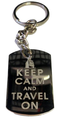 fan products of Keep Calm and Travel On Big Ben London - Metal Ring Key Chain Keychain
