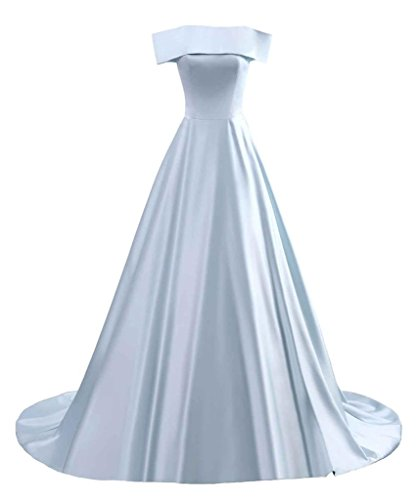 Changuan Women's Off The Shoulder Bridesmaid Dress A Line Strapless Long Prom Evening Gown Sky (Strapless A-line Bridesmaid Gown)