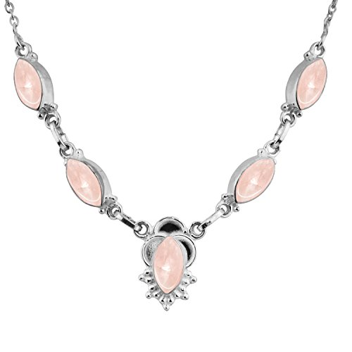 14.00ctw,Genuine Rose Quartz & 925 Silver Plated Necklace (Necklace Quartz Genuine Rose)