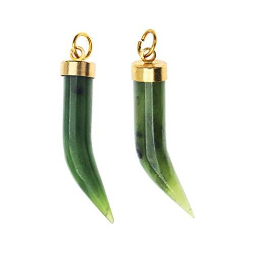 Beadaholique China Jade Gemstone, Curved Horn Pendant 7.5x36.5mm, 2 Pieces, Green (Green Jade Horn)