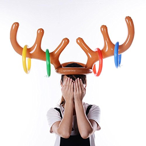 Nesee Holiday Party Inflatable Reindeer Christmas Hat Antler Ring Toss Game Toys (Multicolor)