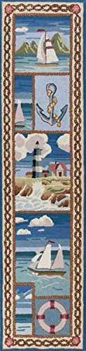 KAS Oriental Rugs Colonial Collection Coastal Views Runner, 2' x 8', Blue