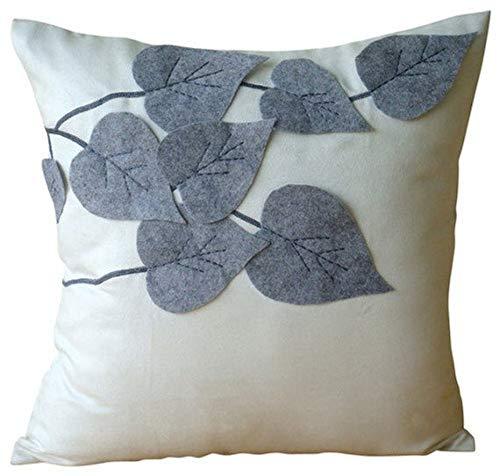 "Designer White Decorative Pillows Cover, Leaf Felt Applique Tropical Theme Pillow Covers, 14""x14"" Pillow Covers Decorative, Square Faux Suede Throw Pillows Cover, Floral -Winter Leaves"