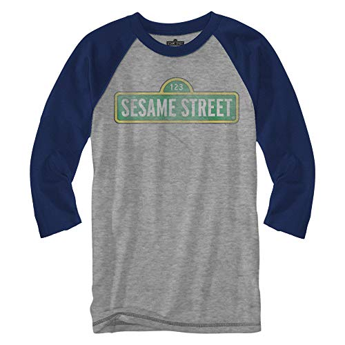Sesame Street Sign Raglan Style 3/4 Length Sleeve Classic Vintage Retro Funny Humor Pun Adult Mens Graphic Shirt Apparel (Heather Grey, -
