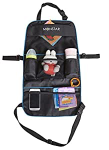 MONSTAR 2in1 Back seat Stroller Organizer-Auto Car Seat Back Protector and Storage Panel-waterproof kick mats for kids