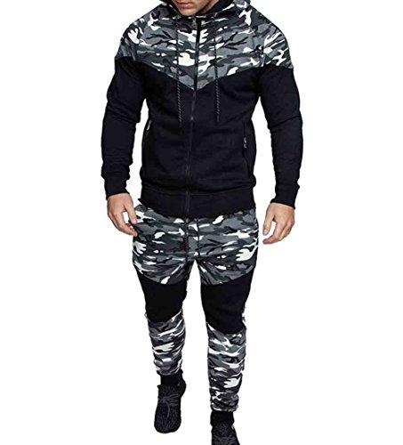 Men's Tracksuit Set Camouflage Sweatshirt Jogger Sweatpants Warm Sports Suit (Grey, M)