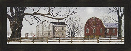 ly Jacobs 16x40 Farm Red Barn Cardinal Fence Outhouse Winter 4 Seasons Primitive Folk Art Framed Print Picture ()
