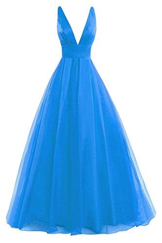 JAEDEN Mujer Cuello en V profunda Tul Vestidos de noche Largo Sin espalda Vestido de baile Vestido formal Azul