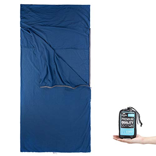 ieGeek Lightweight Sleeping Bag Liners, Cotton Travel and Camping Sheet with Zipper for Outdoor, Hiking, Camping, Backpacking, Picnic (39.3