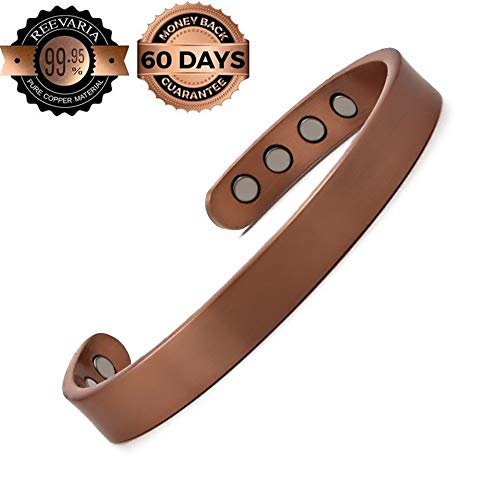 Reevaria - Pure Copper Plain Magnetic Heavyweight Cuff Bracelet for Men, with 8 Magnets 3500 Gauss- Recovery and Pain Relief - Arthritis, Golf and Other Sports, Carpal Tunnel
