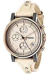 Fossil Women's ES3786 Original Boyfriend Rose Gold-Tone Watch with Beige Leather Band