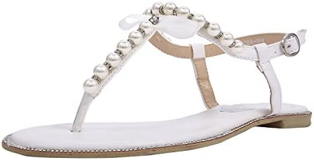 SheSole Womens White Flat Sandals Rhinestone Summer Beach