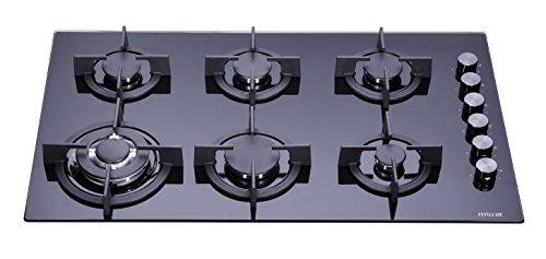 Millar GH9061PB Hob 90cm Tempered Glass Black 6Gas Burners