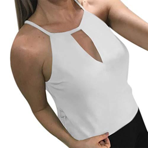 Minisoya Women Solid V-Neck Keyhole Camisole Sleeveless Vest Tank Tops Blouse Shirt White