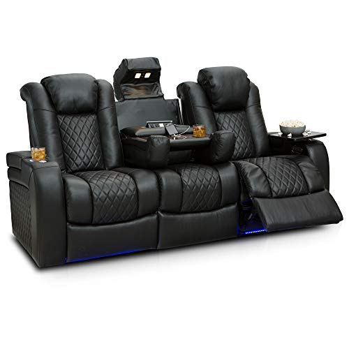 Seatcraft Anthem Home Theater Seating Leather Multimedia Power Recline Sofa with Fold-Down Table, Adjustable Powered Headrests, Storage, AC/USB and Wireless Charging and Cup Holders, Black ()