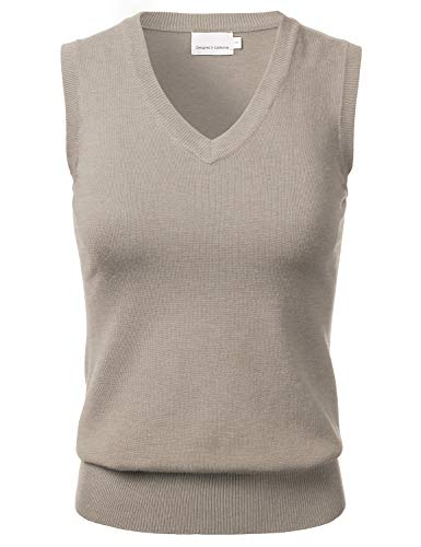 Women's Solid Classic V-Neck Sleeveless Pullover Sweater Vest Top Camel M