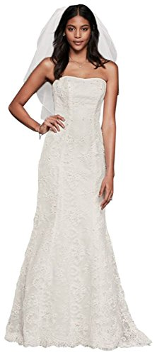 Strapless Beaded Lace Mermaid Wedding Dress Style OP1300, Ivory, 16